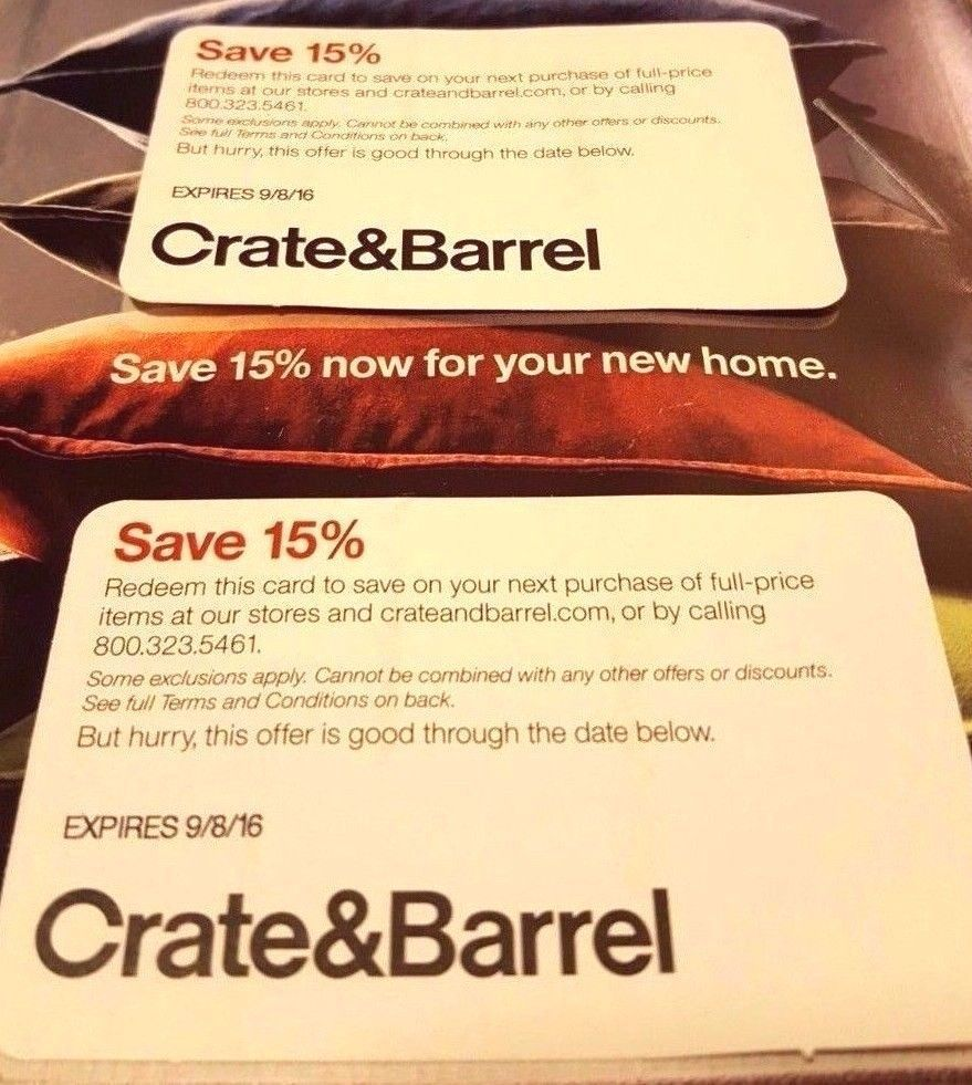 Crate Barrel 15 Coupon Fast Delivery Now Two Cards Offers In Online Deals