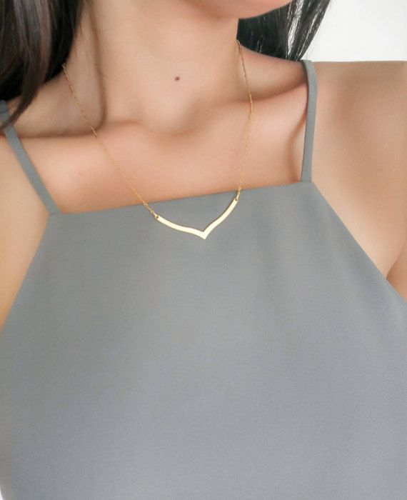 V Necklace  Bar Necklace  Gold Necklace  Minimalist by Elamese