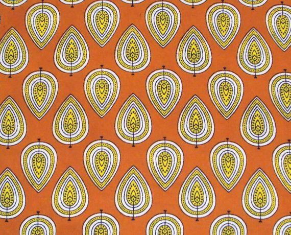 Hand printed cotton fabric - orange leaf print print fabric