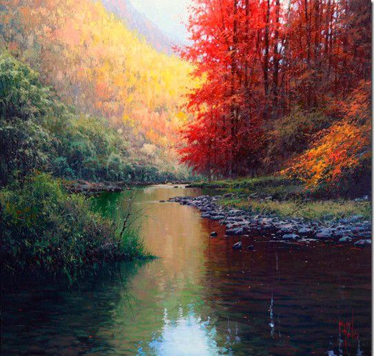 Pintura al oleo rio reflejos agua cuadros a pintar - Pinturas al agua ...