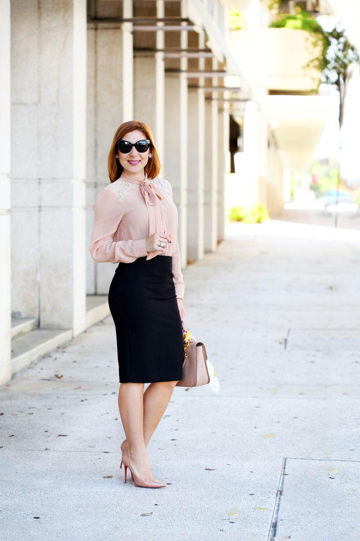 a4c43591917 Blame it on Mei Miami Fashion Blogger 2016 Blush Long Sleeve With Bow Blouse  Pencil Skirt Professional Attire Business Outfit Corporate Office Look  Pigalle ...