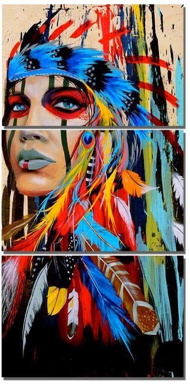 3pc Set Indian Feather Women Diamond Emboridery American Painting Native American Paintings Native American Art