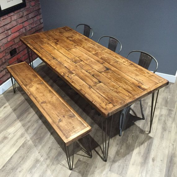 Table And Bench Industrial Dining Table Bench Wood Table Table Bench Set Reclaimed Table Hairpin Legs Matching Bench Handmade Table Kitchen Table Metal Industrial Dining Table Wood Dining Table