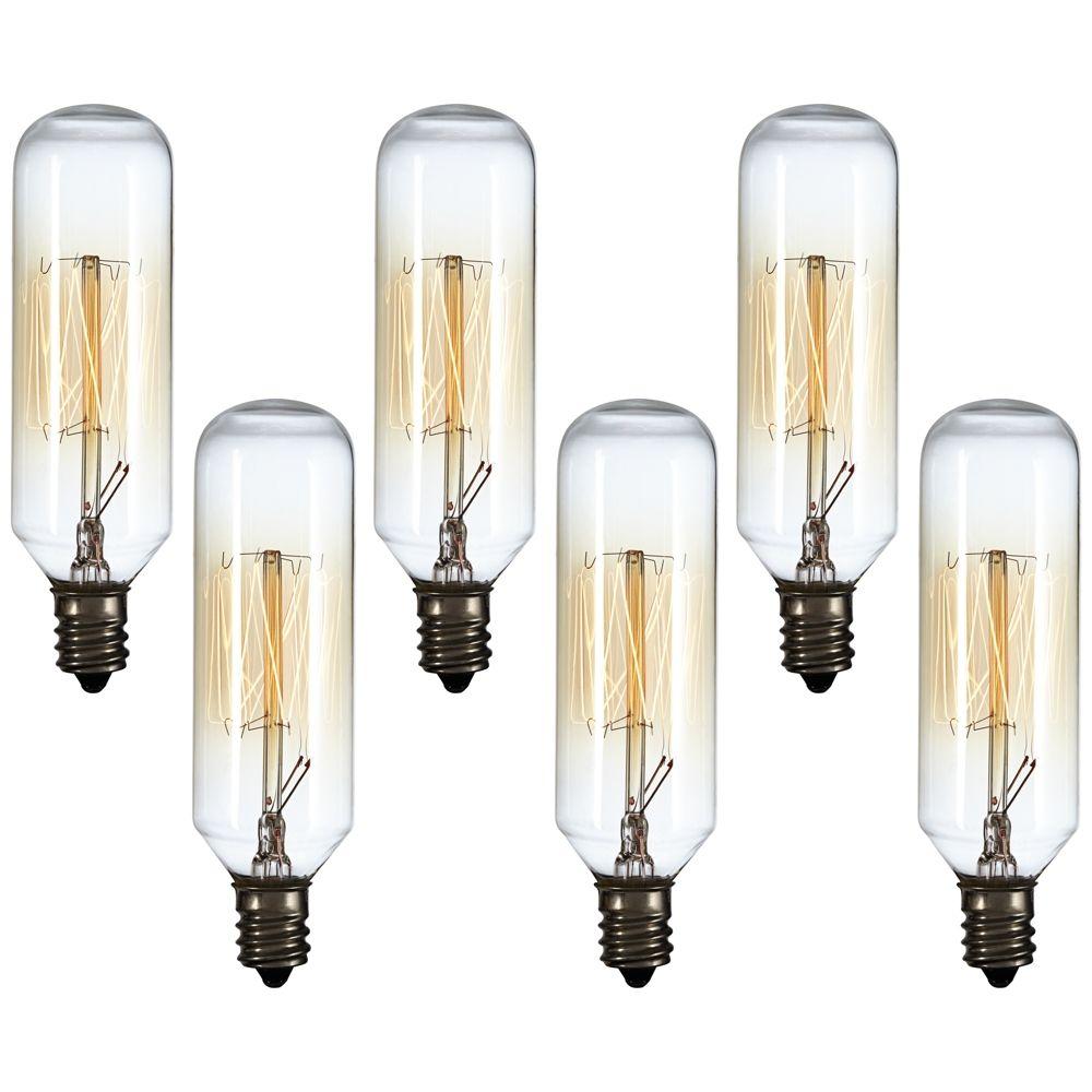 6 Pack 60 Watt T8 Edison Style Candelabra Light Bulbs 8w253