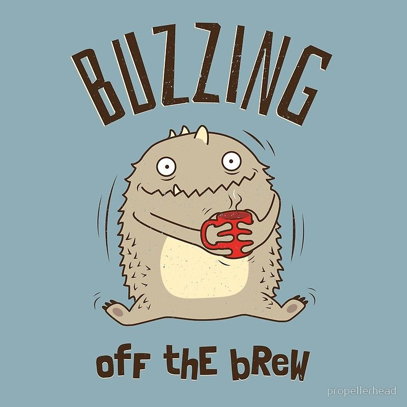 Buzzing off the brew. Cute monster wired with a cup of coffee ...