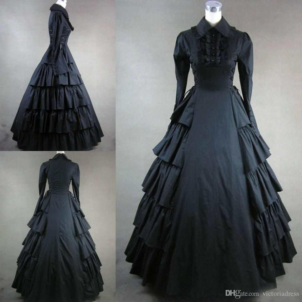 Long Sleeves Black Gothic Victorian Style Gown Dress Cosplay Custom Made Victorian Gothic Clothing Black Prom Dresses Real Phots Vt From Victoriadress 109 65 Vintage Gowns Black Prom Dresses Dresses [ 1024 x 1024 Pixel ]