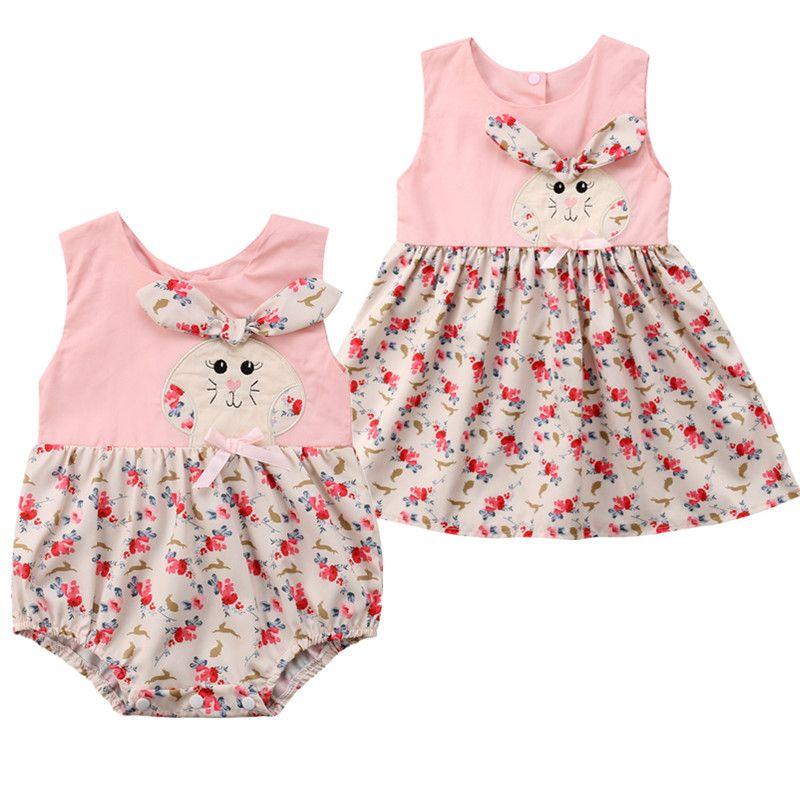 7aa77dbec384 Matching Newborn Toddler Baby Girl Rabbit Clothes Bodysuit Dress Kids Bunny  Flower Sister Matching Child Summer Clothing