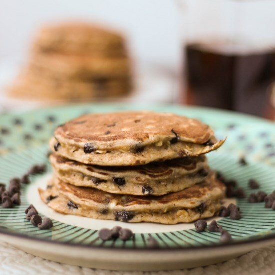 Single Serving Healthy Chocolate Chip Oatmeal Pancakes - a delicious and healthy breakfast!