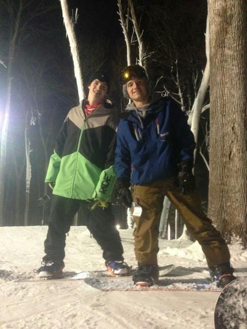 Josh Hutcherson and his friend go snowboarding