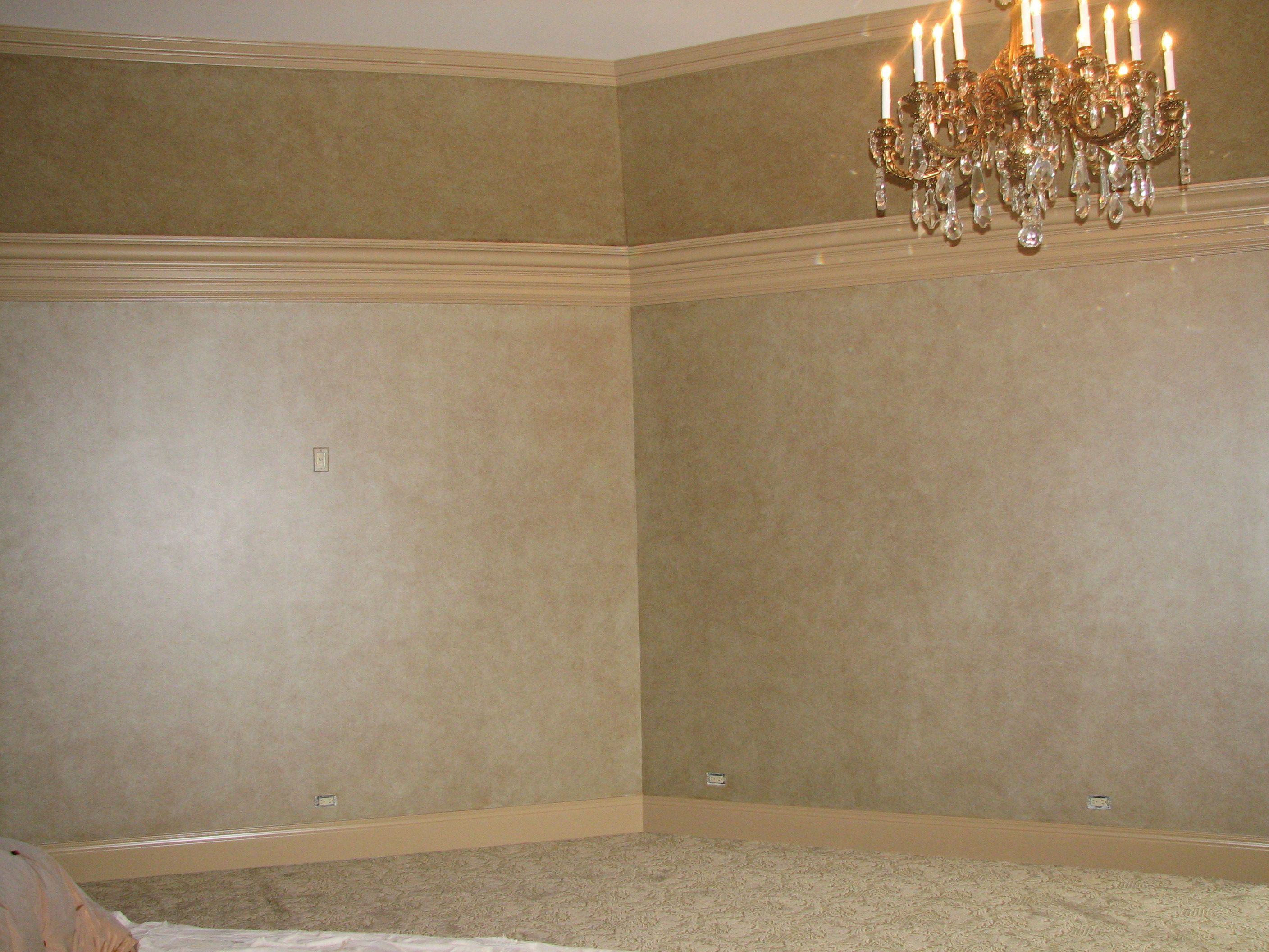Painted walls with 4 step/color mottled glaze finish