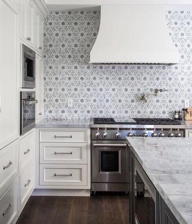 White Kitchen With A Funky Backsplash Kitchen Trends Ivory