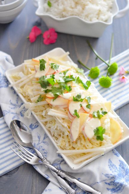 Crunchy, sweet, crisp and tangy, this Apple Jicama Slaw seems the perfect combination of flavors and textures.