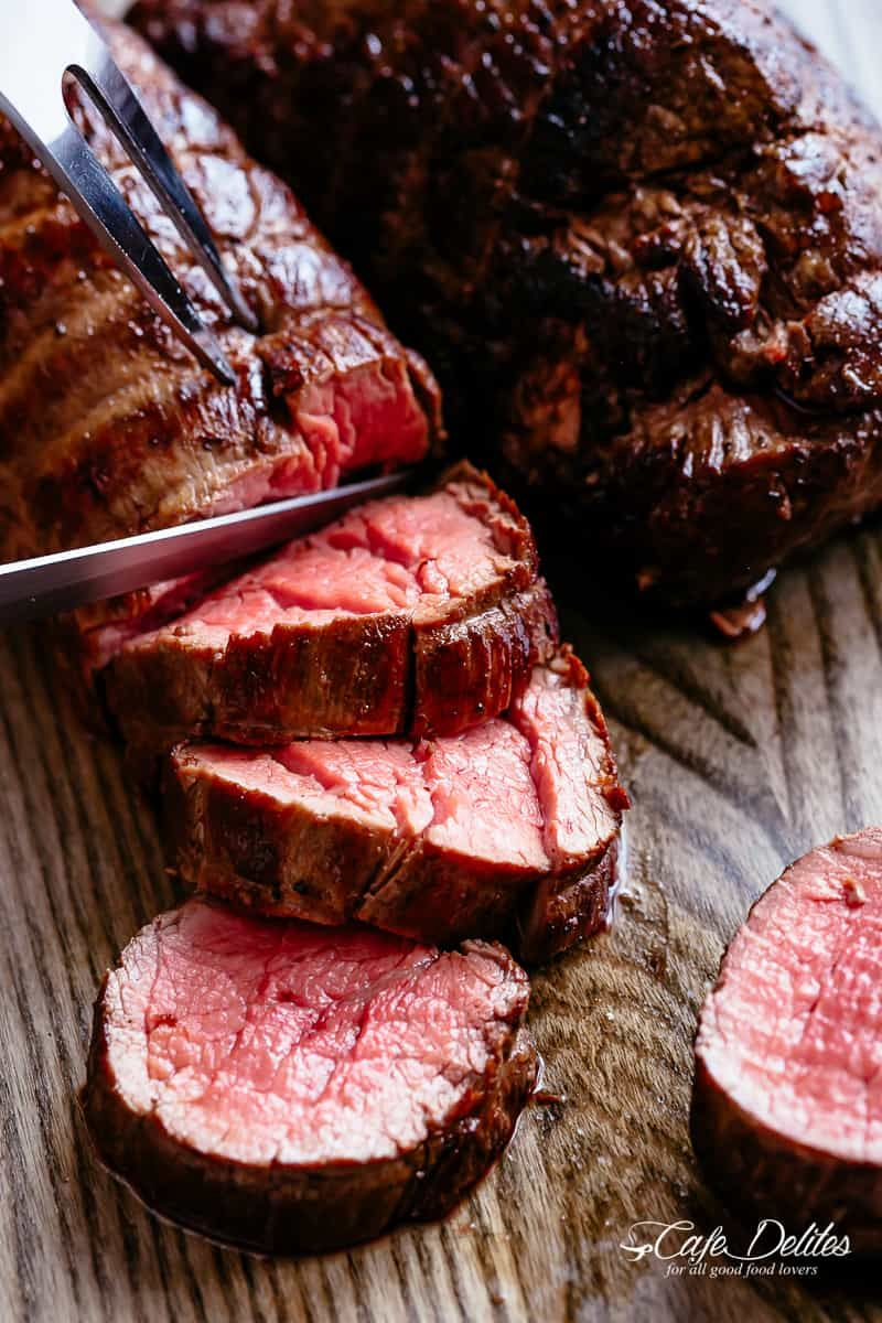 The Best Juicy Roast Beef Tenderloin Slathered With Garlic Butter That Melts In Your Mouth With Eve Beef Tenderloin Recipes Beef Tenderloin Tenderloin Recipes