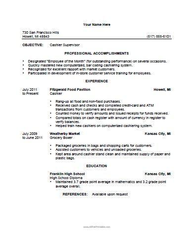 Free Printable Cashier Resume Template Resume Templates - resume templates for cashier