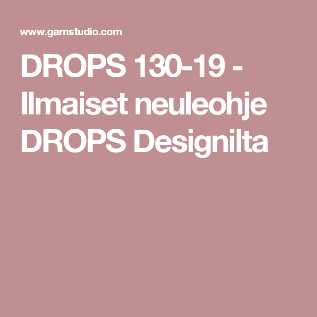 DROPS 130-19 - Ilmaiset neuleohje DROPS Designilta