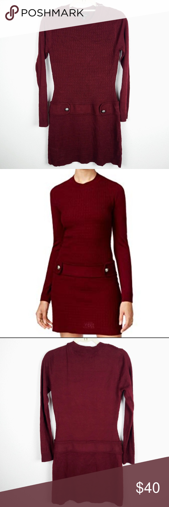 88e939916d4 BCX Maroon Long Sleeve Sweater Dress New with tags Fabric has stretch  Color  Maroon SIZE