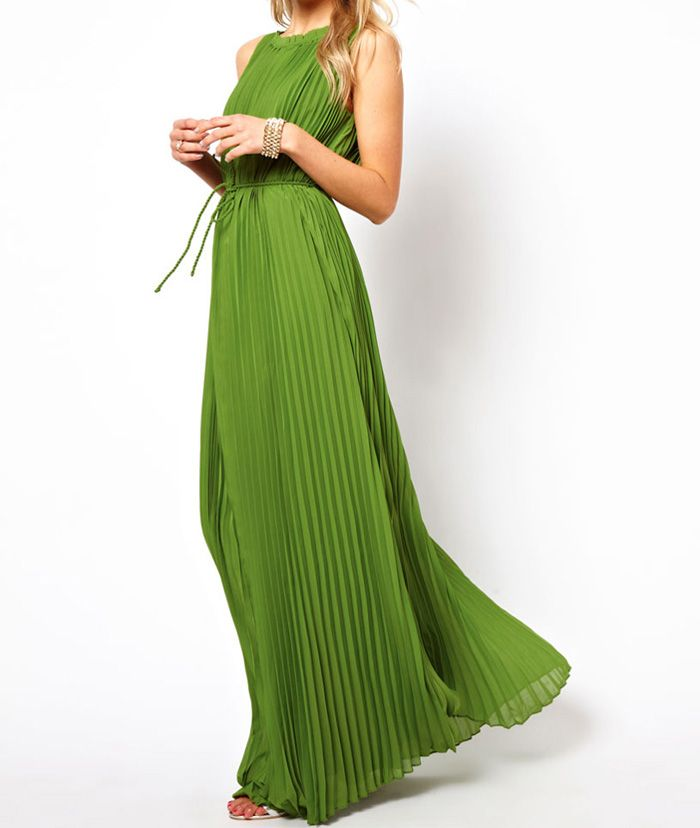 Simple Style Round Collar High Waist Solid Color Pleated Slim Fit Maxi-Dress With Belt For Women, GREEN, ONE SIZE in Maxi Dresses | DressLily.com