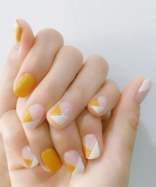 Easy And Pretty White And Orange Nail Art Designs For Girls Orange Nail Art Simple Nail Art Designs Simple Nails