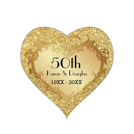 Sparkle Gold Heart 50th Wedding Anniversary Sticker #50th #wedding # Anniversary #golden #