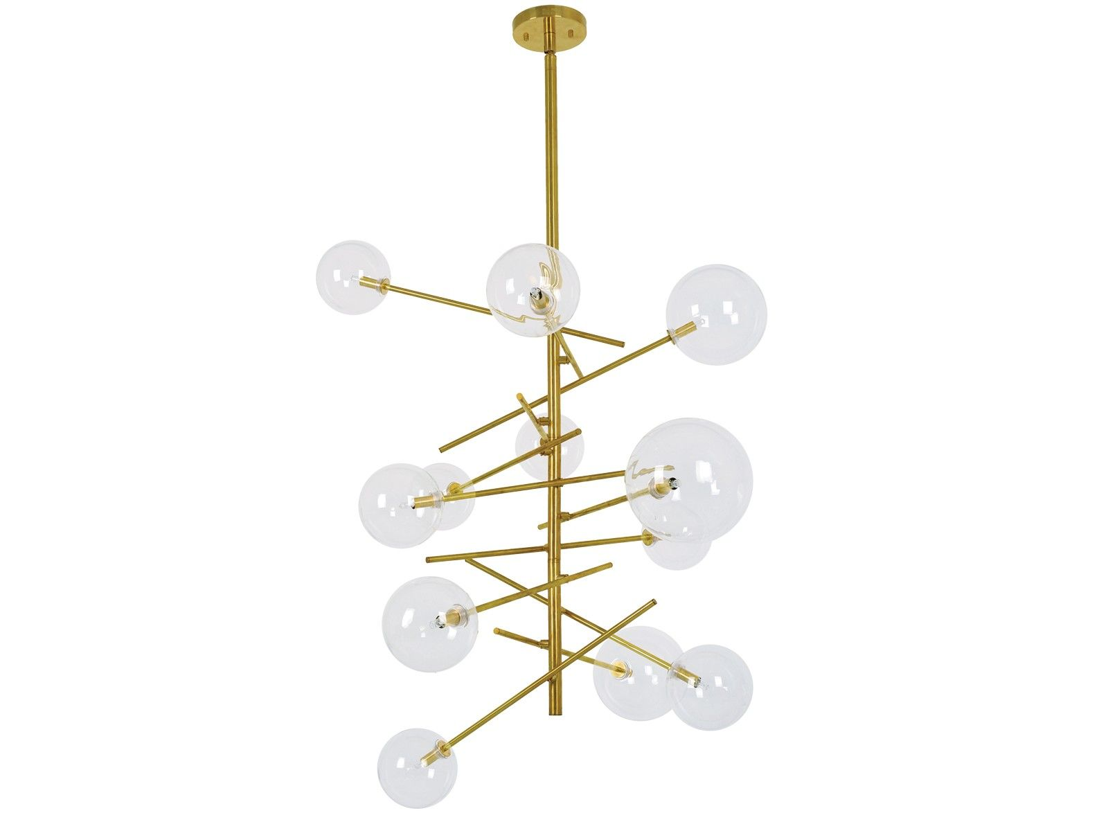 Aksel 12 Light Pendant in Brass Clear Hotel Design