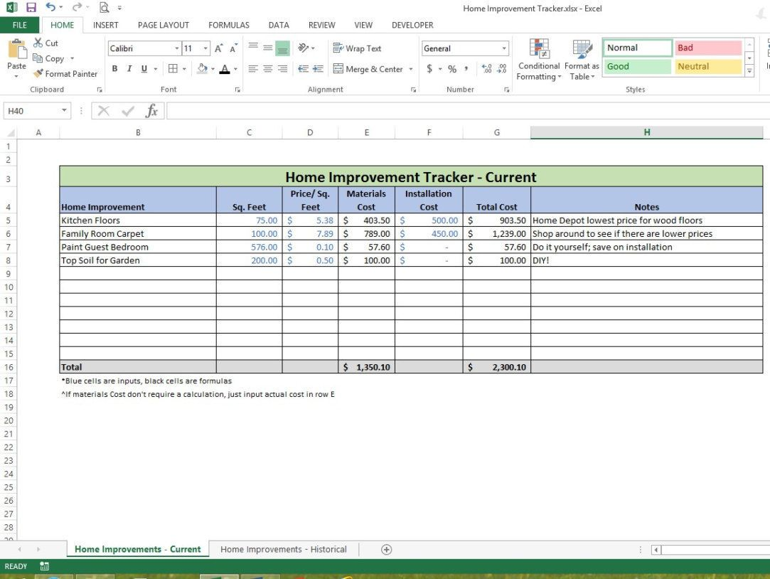 Home Improvement Tracker Microsoft Excel Spreadsheet Template