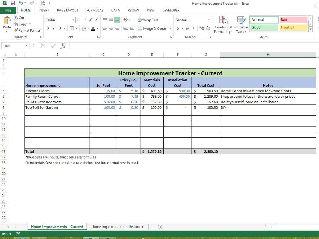 Home Improvement Tracker Microsoft Excel Spreadsheet Template