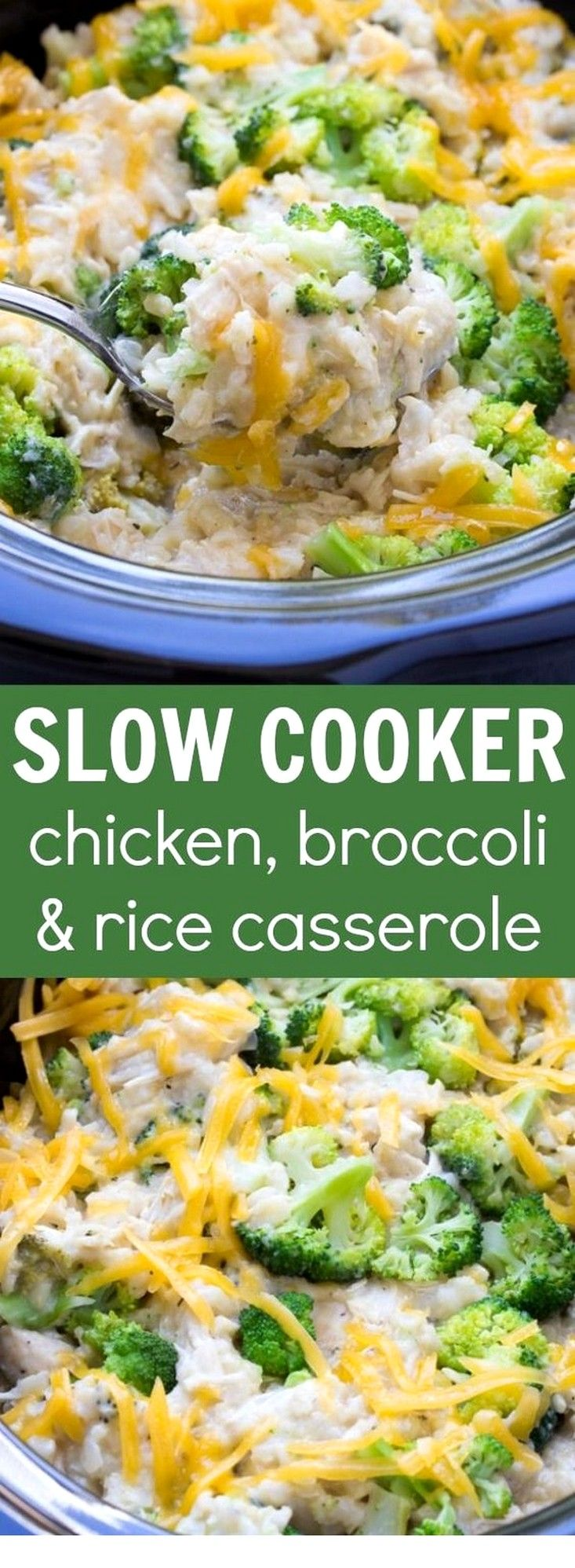 Slow Cooker Chicken, Broccoli And Rice Casserole   Slow Cooker Recipes #ricecookermeals