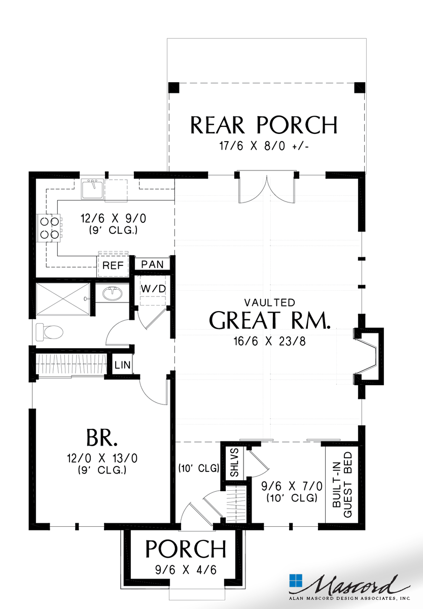 Main Floor Plan Of Mascord Plan 1176a The Cecil Guest Cottage Vacation Home Or Compact Living Craftsman Style House Plans Cottage House Plans House Plans