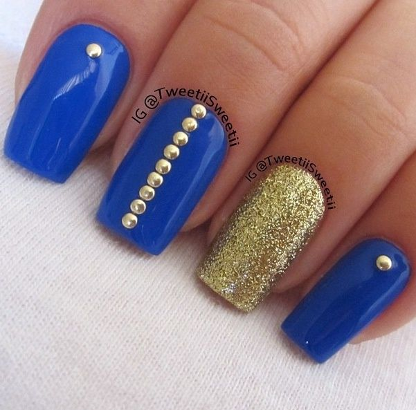 Perfect Pictures Of Royal Blue And Gold Nails And New Fashion