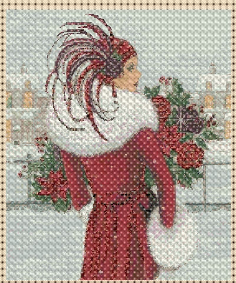 FlowerPower37-UK Cross stitch chart   Art Deco Lady 198 DMC