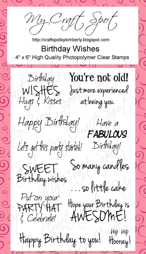 My Craft Spot Monday Challenge 58 Birthday Whats your age – Phrases for Birthday Cards