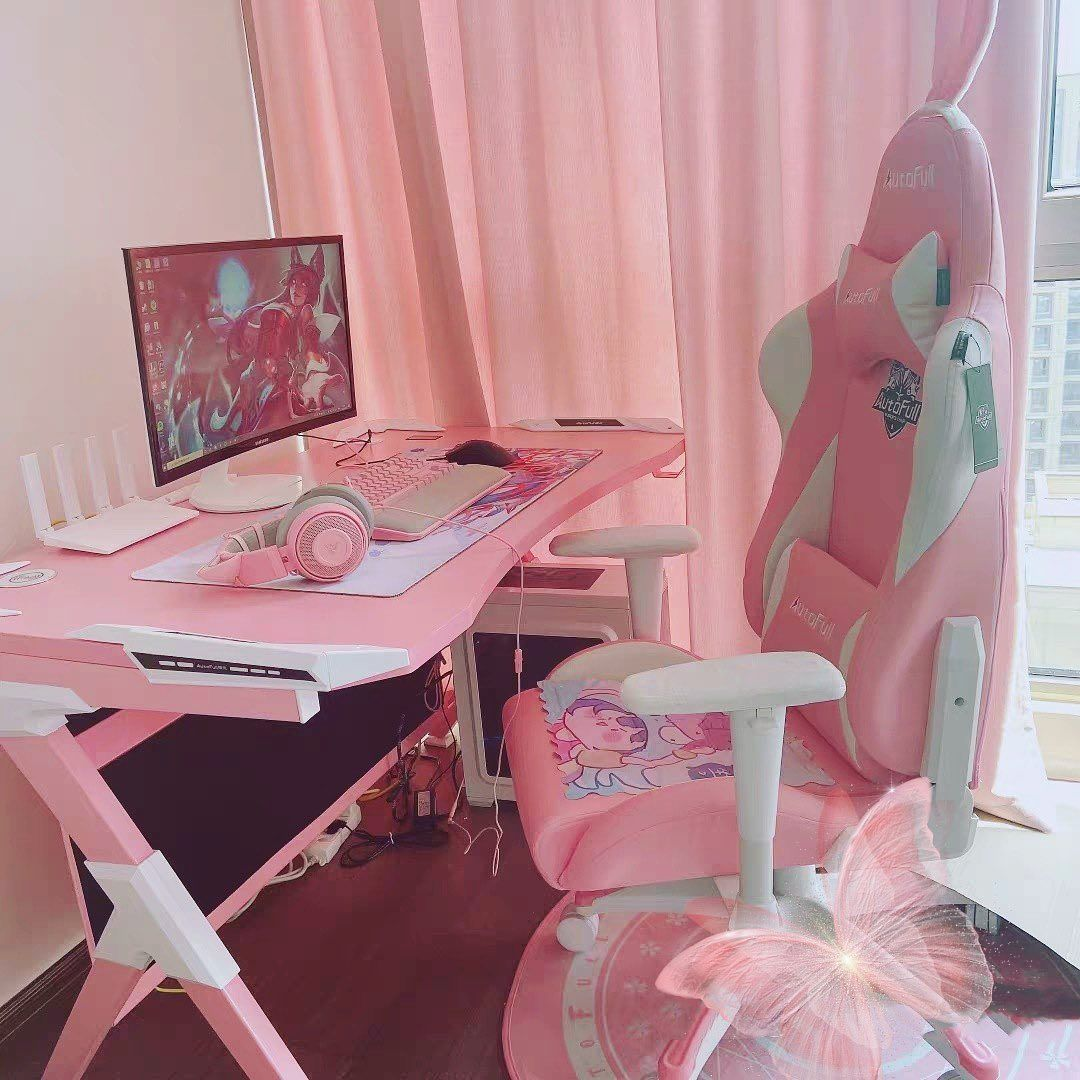 AutoFull Pink Gaming Chair With Bunny in 2020 Gamer room