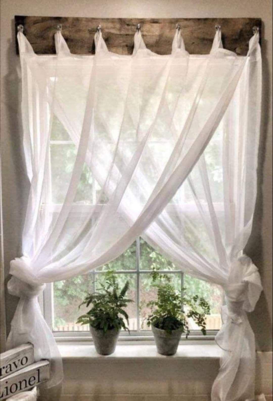 Great idea, hooks instead of curtain rails.  Farmhouse window