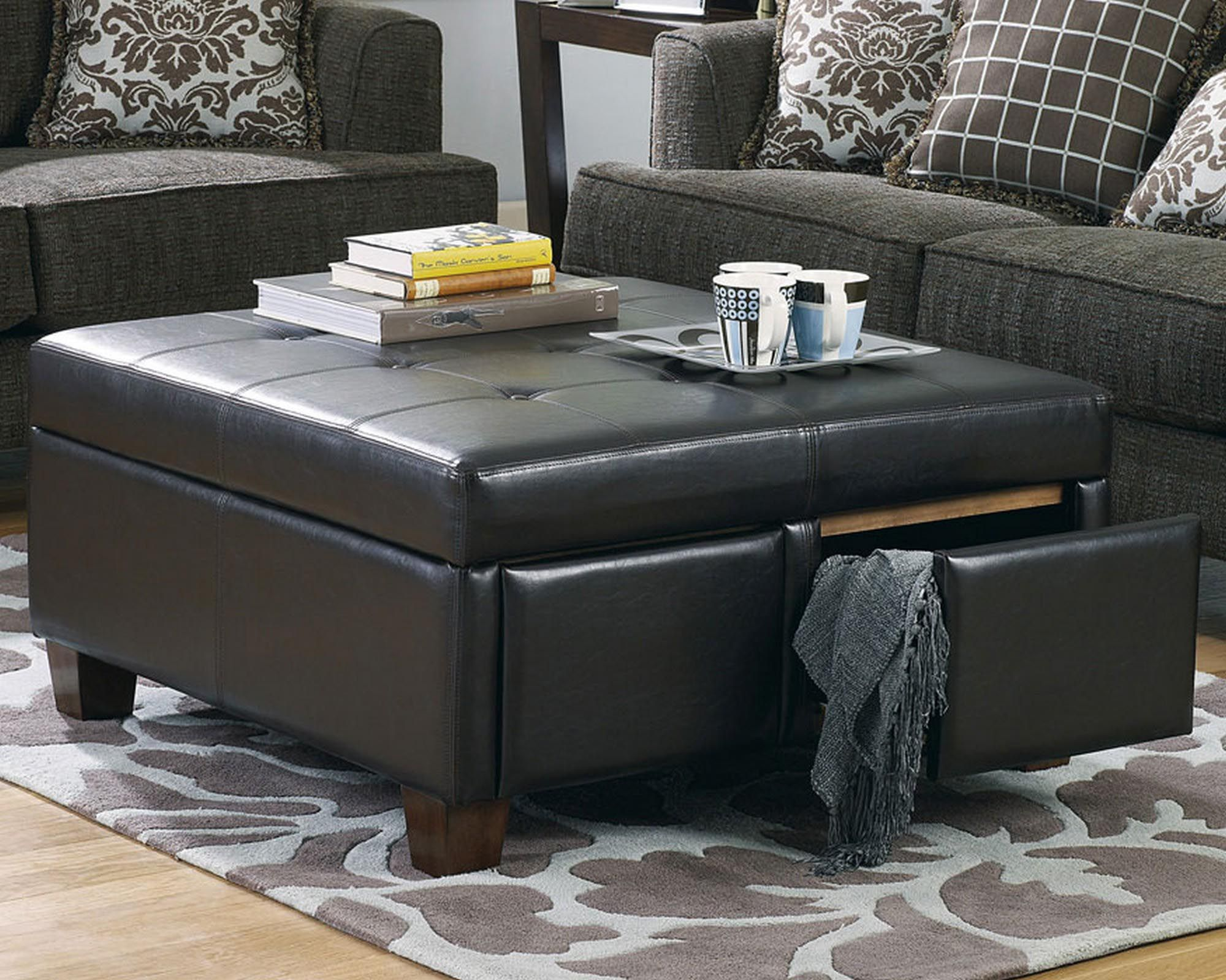 Furniture Living Room Leather Ottomans Black