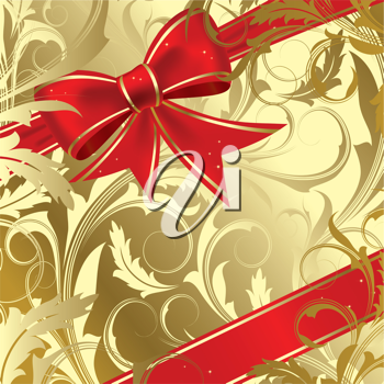 iclipart clip art illustration of a red christmas bow on a gold background royalty free