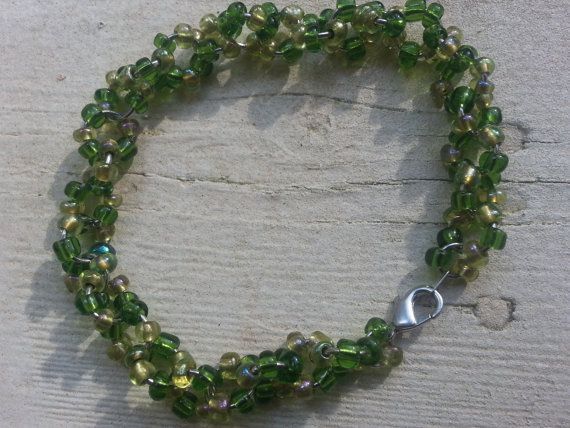 Green Seed Bead Bracelet by tahdeah on Etsy, $8.00