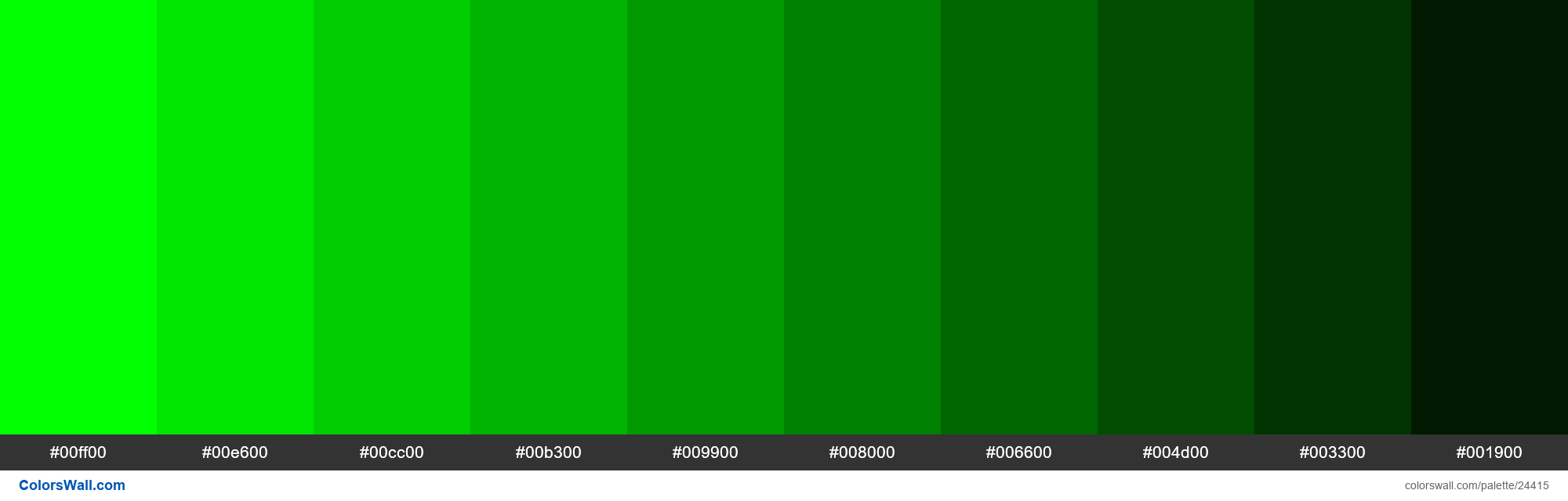 Shades of Lime 00FF00 hex color 00ff00, 00e600, 00cc00