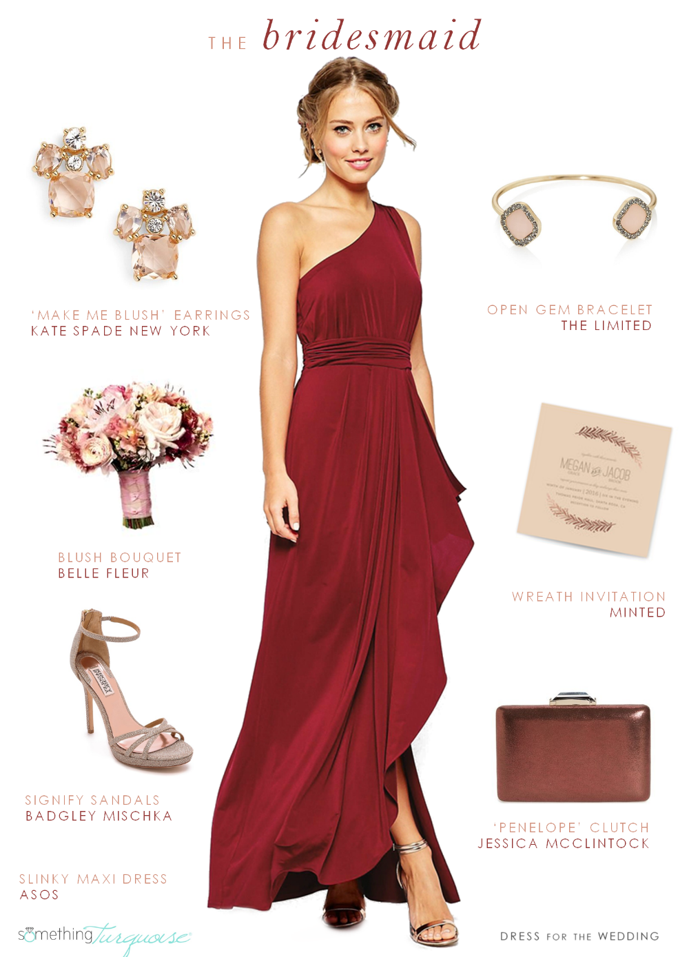 472b5e1c55d Burgundy red bridesmaid by Dress for the Wedding for Something Turquoise