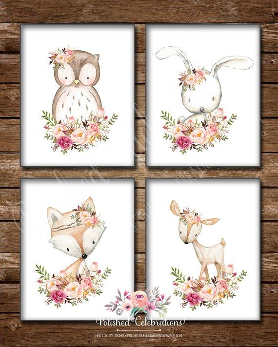 Photo of Boho Woodland Animal Set / 8×10 11×14 bedruckbar / Blush Pink Peach / Blumen / Tribal / Baby Mädchen Kindergarten / Dusche Dekor / Schlafzimmer Wandkunst