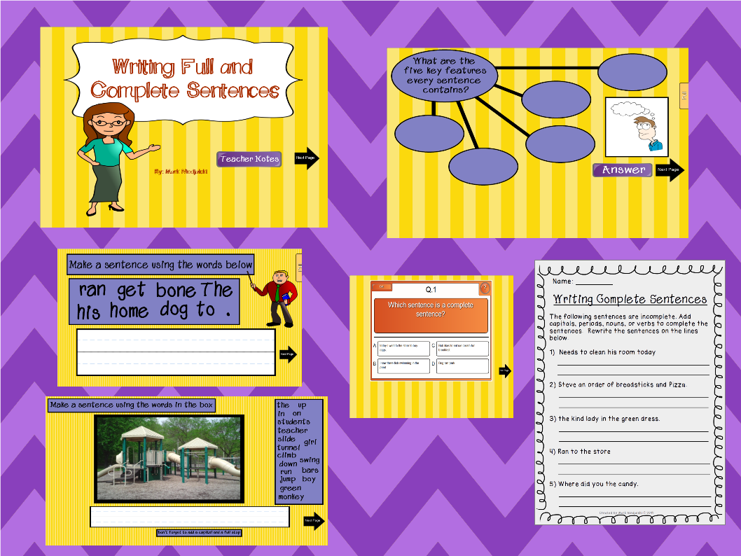 Writing Complete Sentences Is Lesson 3 Of A 4 Part Mini Unit On Sentence Structure I Teach At