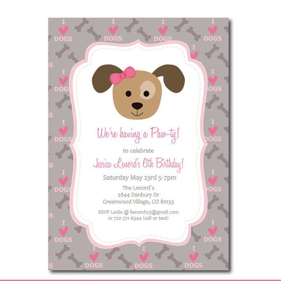 Puppy Party Invitation Printable Dog Party Invitation Etsy Puppy Birthday Party Invitations Dog Birthday Party Invitations Puppy Party Invites