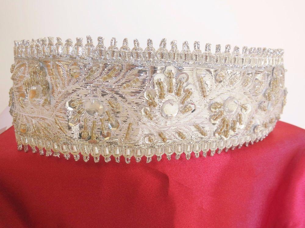 Bridal  silver belt sash satin ribbon closure