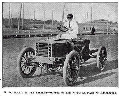 H.D.Savage in a 1903 Peerless Racer-Winner of the 5 Mile Minneapolis Race