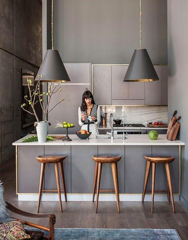 Küche grau Pendelleuchten Barhocker Küche Pinterest - Küche Einrichten Ideen