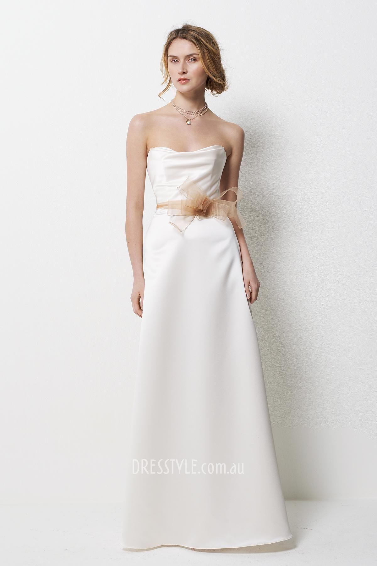 Simple White Strapless A Line Floor Length Bridesmaid Dress With Bow Horse Hair Belt