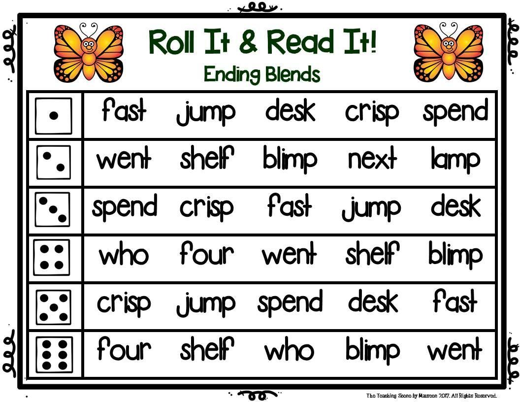 Ending Consonant Blends Roll It Amp Read It Words