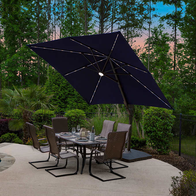 Led Solar Square Cantilever Umbrella, Cantilever Patio Umbrella Cover