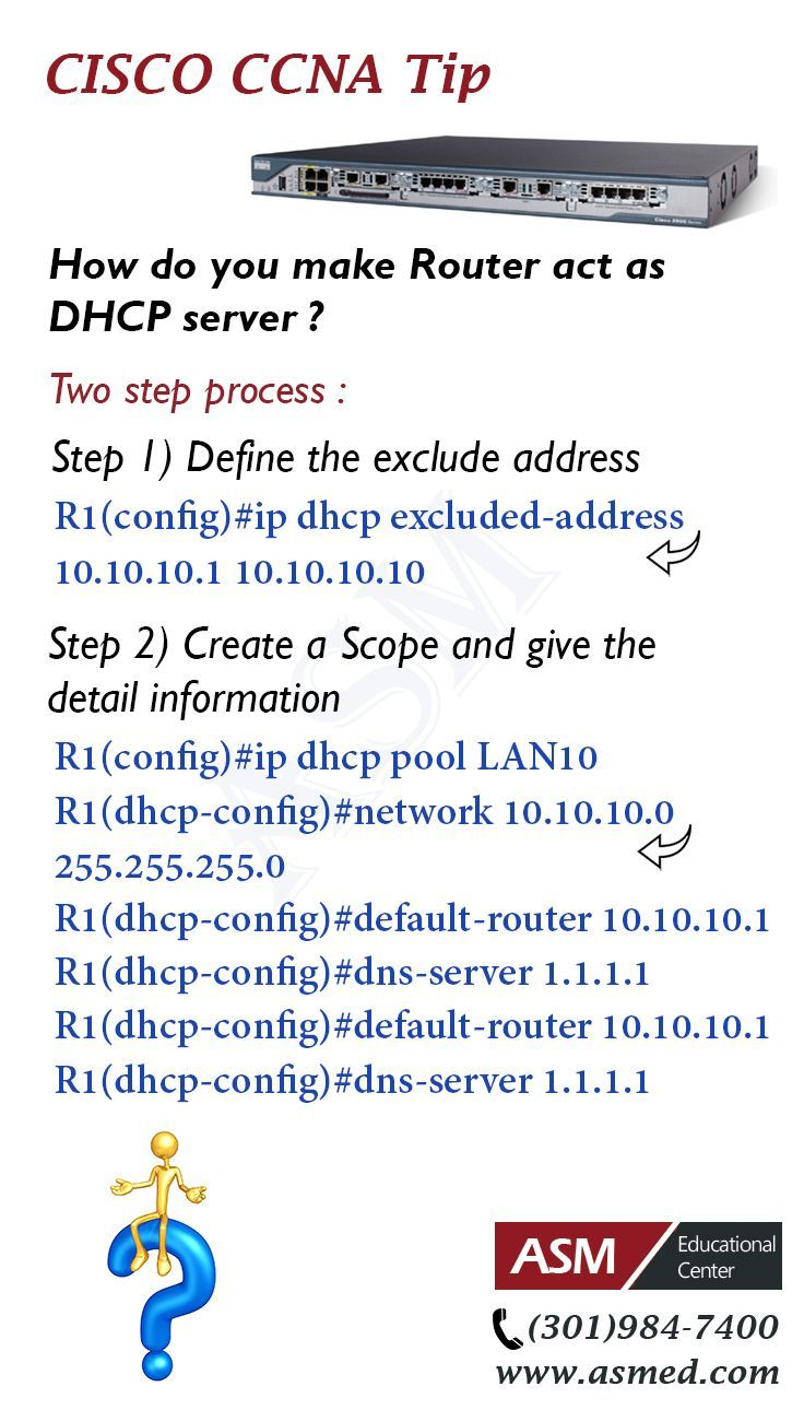 Cisco CCNA Training / Tip -To make Router act as DHCP server .For ...