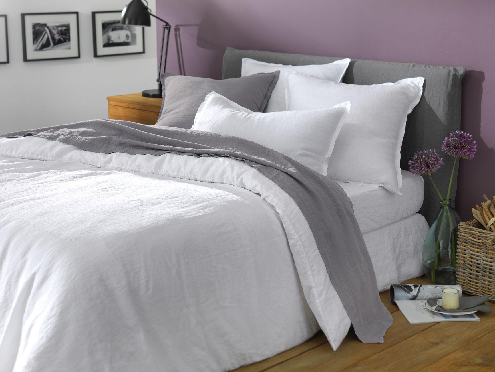 linge de lit housse de couette en lin lav blanc 100 lin lav sommeil lit douceur. Black Bedroom Furniture Sets. Home Design Ideas