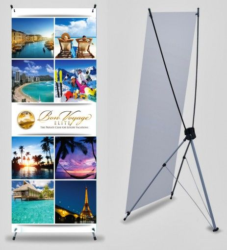 Bon Voyage 2 X 5 Banner With X Stand Getmybusinesscards Com Indoor Banner Trade Show Display Banner Stands